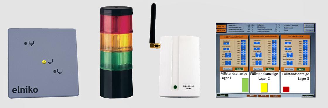 Mit den potenzialfreien Kontakten können die 4 Füllstände angezeigt bzw. übertragen werden auf LED-Säule, GSM-Modul, Kessel oder GLT-Technik.